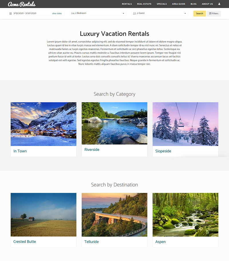 Vacation Rentals Screenshot