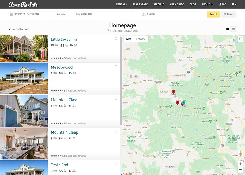 Property Search Results Screenshot